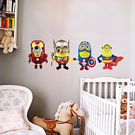 4 Minions Cosplay Avengers Superhero Wall Stickers Fashion DIY Despicable Me Living Room Bedroom Wall Decals 5310731
