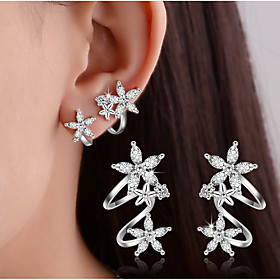 Women's Crystal Synthetic Diamond Stud Earrings Clip Earrings - Sterling Silver Leaf, Heart, Flower Basic, Double-layer Gold / Silver For Wedding Party Daily