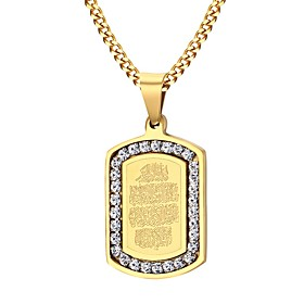 Men's AAA Cubic Zirconia Pendant Necklace Stainless Steel Zircon Gold Plated Fashion Golden Necklace Jewelry For Party Daily Casual