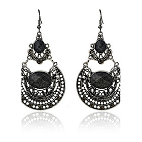 Earring Oval,Jewelry 1 pair Adorable Alloy / Glass Black / White / Red / Brown Party 5463407