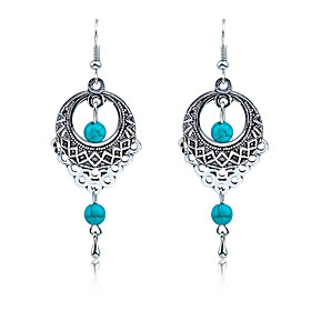 Women's Turquoise Hollow Out Drop Earrings Earrings Ladies Vintage Bohemian Boho western style Jewelry Silver For Wedding Party Daily Casual
