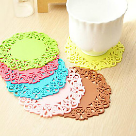 6PCS Creative Hollow Out Silicone Flower Shape Antiskid Hot Heat Insulation Cup Mat 10cm 5389617