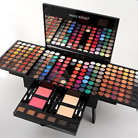Miss Rose 180 Colors Eyeshadow Palette Matte Nude Shimmer Eye Shadow Set with Brush Mirror 6 Eyebrow 5414082