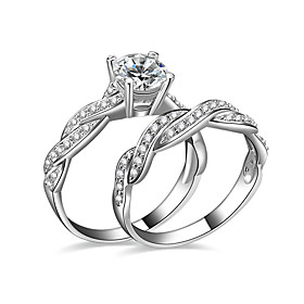Women's AAA Cubic Zirconia Couple Rings Engagement Ring - Silver Plated Love 6 / 7 / 8 / 9 / 10 Silver For Wedding Party Engagement / 2pcs