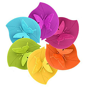 Ryback Butterfly on Leaf Silicone Cup Lid Anti-dust Leak Proof Designer Mug Cover Random Color 5393184