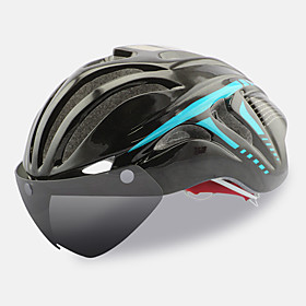 FTIIER Adults Bike Helmet with Goggle Aero Helmet 18 Vents CE Impact Resistant, Light Weight, Adjustable Fit EPS, PC Sports Road Cycling / Cycling / Bike / Mou