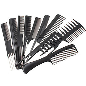 1 Set(Contain10 pcs) Black Professional Combs Hairdressing Salon Styling Barbers Set 15cm - 23cmNew Style 4611