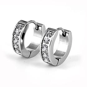 Men's Women's AAA Cubic Zirconia Hoop Earrings - Stainless Steel, Imitation Diamond Luxury, Fashion Silver For Wedding Party Daily