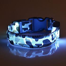 Cat Dog Collar LED Lights Adjustable / Retractable Camo / Camouflage Nylon Green Blue Pink