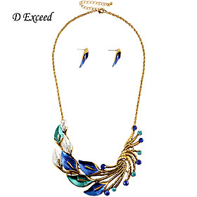 Brand New Arrival Exquisite Luxury Blue/Green Flower Crystal Alloy Jewelry Set Earring and Necklace for Women JS180348-1 5463478