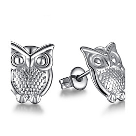 Women's Stud Earrings - Sterling Silver Owl Silver For Wedding Party Daily