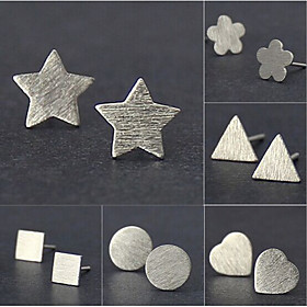 Women's Stud Earrings - Silver Plated Flower, Star Basic, Simple Style, Fashion Silver For Wedding Party Daily