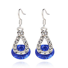 Women's Sapphire Synthetic Diamond Drop Earrings Sterling Silver Resin Earrings Ladies Jewelry Red / Blue / Pink For Wedding Party Daily Casual Masquerade Enga