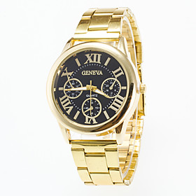 Men's Causal Fashion Gold Wrist Watch Stainless Steel Band Geneva Quartz Women Watch Of Four Rome's number Dial 5453890