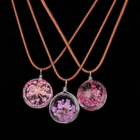 Women New Fashion Flowers Glass Ball Necklace Leather Chain Dried Flowers Pendant Necklaces 1pc 5399322