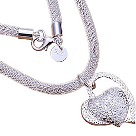Women's Pendant Necklace Sterling Silver Heart Love Ladies Bridal Silver Necklace Jewelry 1pc For Wedding Party Anniversary Birthday Daily Casual