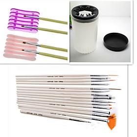 1Set Nail Tool Kit (15PCS Nail Pen1PCS Nail Special Penholder1PCS Nail Wash Pen Cup) 4598180