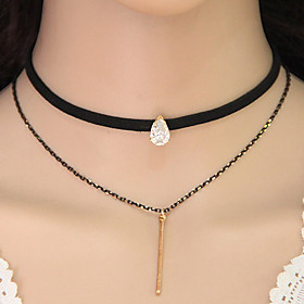 Women's Choker Necklace Y Necklace Tattoo Choker Teardrop Ladies Tattoo Style European Double-layer Gold Necklace Jewelry For Party Daily Casual Beach Cosplay