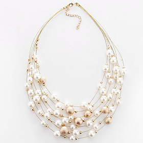 Women's Round Shape Circular Multi Layer Fashion European Choker Necklace Imitation Pearl Pearl Imitation Pearl Alloy Choker Necklace 5476990