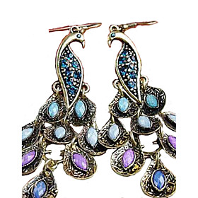 Women's Synthetic Diamond Drop Earrings - Cubic Zirconia, Rhinestone Peacock Statement, Vintage, Folk Style Royal Blue For Party Special Occasion Anniversary