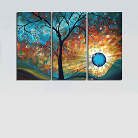 Hand-Painted Modern Tree Sun Moon Wall Art Decoration  Oil Painting on Canvas  3pcs/set Without Frame 3870252