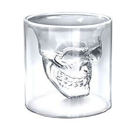 Heat Resistant Double Wall Transparent Creative Scary Skull Head Novelty Drinkware Whiskey Wine Vodka Shot Glass Cup 5005676