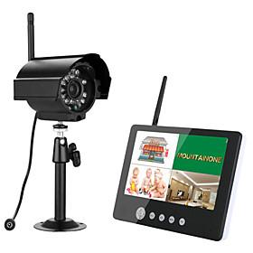 ENNIO 7 inch TFT Digital 2.4G Wireless Cameras Monitors 4CH Quad DVR Security System With IR Night Light
