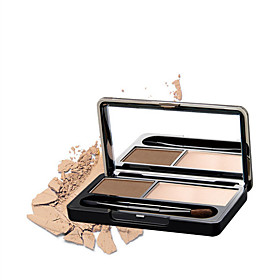 New Professional Kit 2 Color Eyebrow Powder Shadow Palette Enhancer with Ended Brushes 5514419