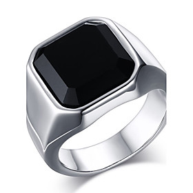 Men's Onyx Statement Ring Ring Signet Ring Stainless Steel Vintage Fashion Ring Jewelry Gold / Silver For Daily Casual 8 / 9 / 10 / 11 / 12