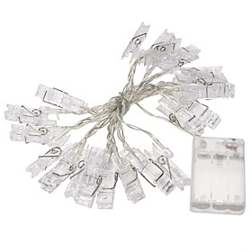 1Pc 2M Mini 20 Led 3Xaa Battery Card Photo Clip String Lights Christmas Lights New Year Party Wedding Home Decoration Fairy Lights Yellow/White/Multi