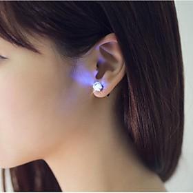 2PCS LED Earring Light Up Crown Glowing Crystal Stainless Ear Drop Ear Stud Earring Jewelry