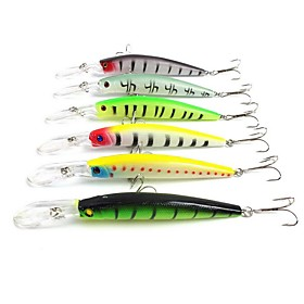 "6 pcs Hard Bait Minnow Fishing Lures Hard Bait Minnow g / Ounce, 145 mm / 5-9/16"""" inch, Hard Plastic Sea Fishing Bait Casting Spinning"" 5565832"