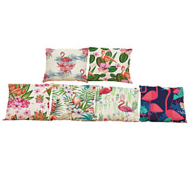 6 Pcs Linen Pillow Case, Solid Textured Beach Style Bolster Traditional/classic