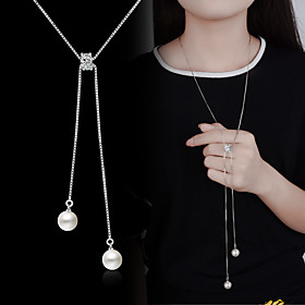 Pendant Necklace Y Necklace Long Necklace Imitation Pearl Silver Plated Ladies Basic Fashion Silver Necklace Jewelry For Wedding Party Special Occasion Birthda