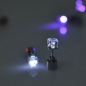 2PCS LED Earring Light Up Crown Glowing Crystal Stainless Ear Drop Ear Stud Earring Jewelry