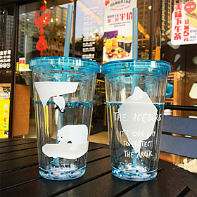 Transparent Cartoon Drinkware 450 ml Portable BPA Free Plastic Juice Water Tumbler 5560758