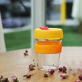 Transparent Sports Outdoor Drinkware, 340 ml Portable BPA Free Glass Silicone Tea Coffee Tumbler 5563511