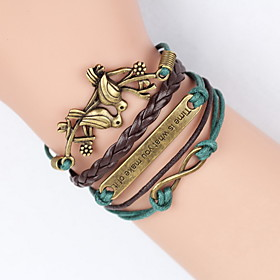 Layered Plaited Monograms Charm Bracelet Wrap Bracelet Leather Bracelet - Leather Bird, Friends, Tree of Life Vintage, Party, Casual Bracelet Black / Brown For