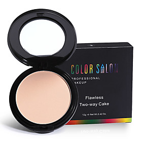 Color Salon Flawless Two-Way Cake Press Powder 12g with Puff Oil-control face concealer 5544712