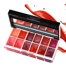 1Pcs 12 Colors Lips Makeup Brand Girl Woman Professional Make Up Lip Gloss Lipstick Cream Palette Set Beauty Brand 25G 5550693
