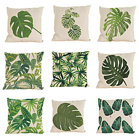 9 Pcs Linen Pillow Case Pillow Cover, Solid Colored Textured Tropical Beach Style