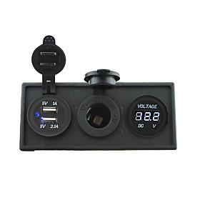 12V/24V Power charger3.1A USB port and 12V voltmeter gauge with housing holder panel for car boat truck RV
