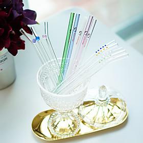 Assorted Transparent Drinkware # ml Reusable Glass Juice Water Straws 20cm 5628529