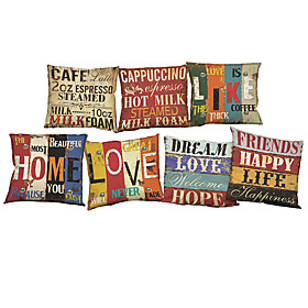 7 Pcs Linen Pillow Case Pillow Cover, Solid Quotes Sayings Wildlife Textured Novelty Casual Beach Style Bolster Traditional/classic