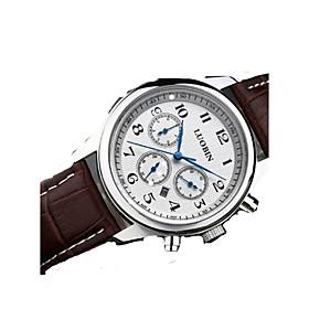 Men's Fashion Watch Quartz Alloy Band Silver Brown Brand 5591581