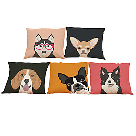 Set of 5 Husky shepherd dog pattern  Linen Pillow Case Bedroom Euro Pillow Covers 18x18 inches  Cushion cover 5608078