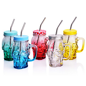 Novelty Skull Shaped Party  Mason Jar Cup  with Straw, 500 ml Decoration  Glass Juice Milk Coffee Mug 5599183