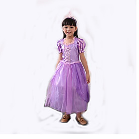 Cosplay Costumes Princess Cinderella Festival/Holiday Halloween Costumes Purple Patchwork Halloween Carnival Children's Day Kid Polyester 5615565