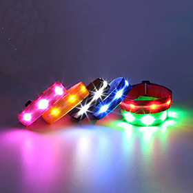 LED Running Armband Reflective Wristbands Compact Size for Camping/Hiking/Caving Cycling/Bike Climbing Outdoor - White Blue Red Green