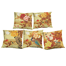 Set of 5 Chinese style   Linen Pillow Case Bedroom Euro Pillow Covers 18x18 inches  Cushion cover